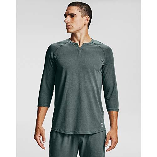 Under Armour Ropa de Dormir para Hombre de la recuperación Henley Undershirt, Hombre, Ropa Interior, 1329518, Lichen Blue (424)/Negro, M