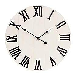 Growsun 30 inch Large Wall Clock Decor Solid Wood Metal Roman Numerals Decoration Clocks for Farmhouse Home Living Room