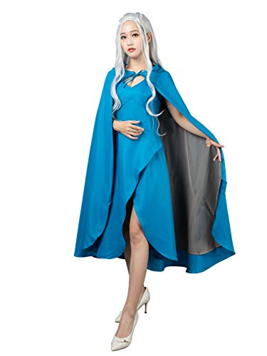 CosFantasy New Daenerys Targaryen Cosplay Costume Blue Dress mp004499 (Large)
