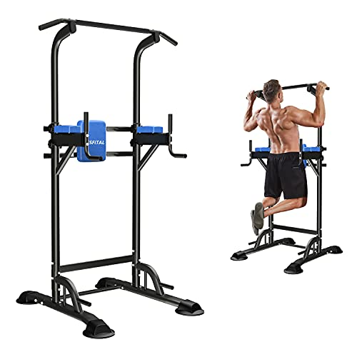 Wesfital Power Tower Dip Stands, Pull-Up Bars, Dip Station, Strength Training Workout Equipment for Fitness Home Gym