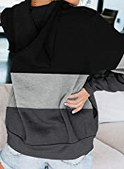 Aleumdr Ladies Long Sleeve Black Colorblock Zip-Up Hoodie Jacket Sweatshirt with Pockets Womens Oversized Baggy Comfy Hooded Coat Tunics UK Size 16 18 #2