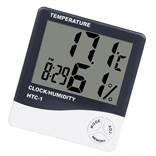 MagiDeal Digitaler Thermometer Hygrometer Wecker Thermo Hygrometer Mit Uhr, Kalender, Wecker, LCD-Display, gleichzeitig Temperatur, Luftfeuchtigkeit und Zeit
