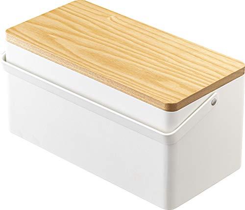 山崎実業(Yamazaki) 裁縫箱 ホワイト 約W27XD14XH13.5cm タワー 可動式トレー 取っ手付き 5060