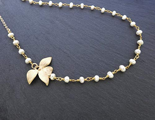 Orchid Flower with Pearl Pendant Necklaces Long Chain Collars Necklace for Women
