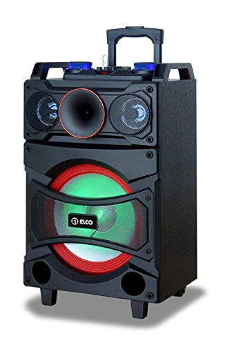 Elco - PDT-1122, Altavoz Trolley con Ruedas Y Función Karaoke, 40W, Display Led, Bluetooth, Lector Micro-SD/USB, AUX, Mando a Distancia, Batería 12V 4.5A, Micrófono Inalámbrico Incluido.