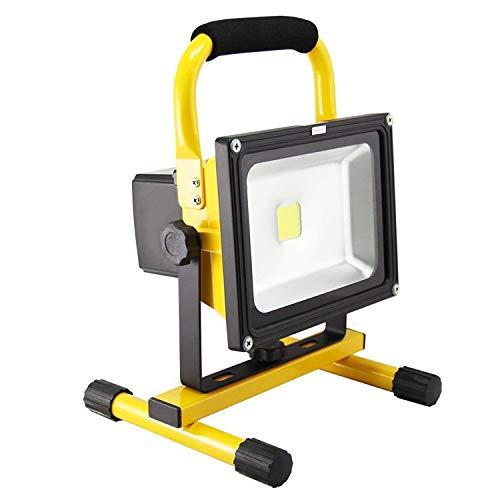 Aufun 20W Kaltweiß LED Baustrahler - LED Strahler Akku Arbeitsscheinwerfer - Campinglampe Angeln Beleuchtung Outdoor Laterne Werkstatt Fluter -Gelb Wasserdicht IP65