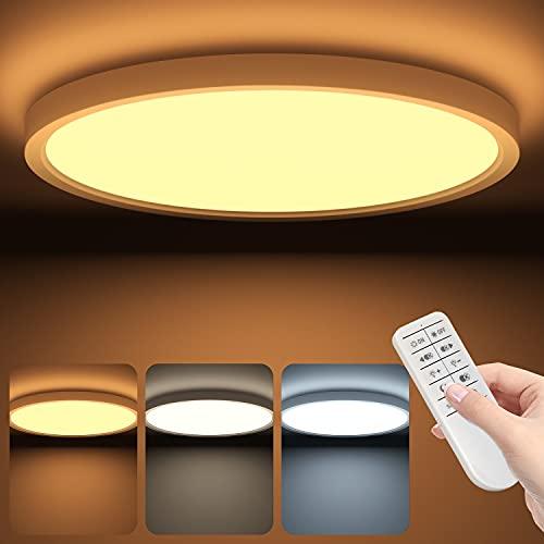 Led Deckenleuchte Flach Dimmbar mit Fernbedienung, Deckenlampe Panel Rund 26W 2700-6500K IP54 2.5cm Ultra Dünn, 30x30cm Weiß für Schlafzimmer/ Badezimmer/ Kinderzimmer/ Flur, 2000LM