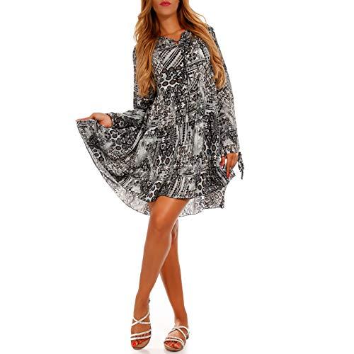 YC Fashion & Style Damen Tunikabluse Longtunika Retro Freizeit One Size Minikleid, Farbe:Grau, Größe:One Size