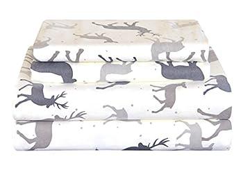 Pointehaven Heavy Weight Flannel Sheet Set Full Autumn Deer