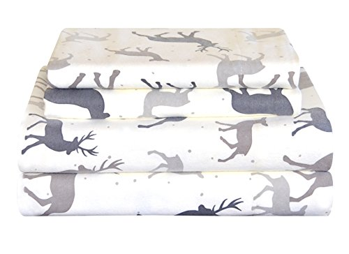 Pointehaven Heavy Weight Flannel Sheet Set, King, Autumn Deer
