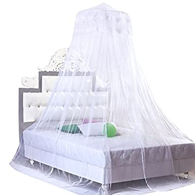 FakeFace Princess Pastoral Mosquito Net Round Hoop Lace Dome Bed Canopy Netting Fit Single/Double/Twin/Queen/King Size Bed Bedding Curtains Mosquito Fly Bug Screen Netting Net for Home or Travel Use