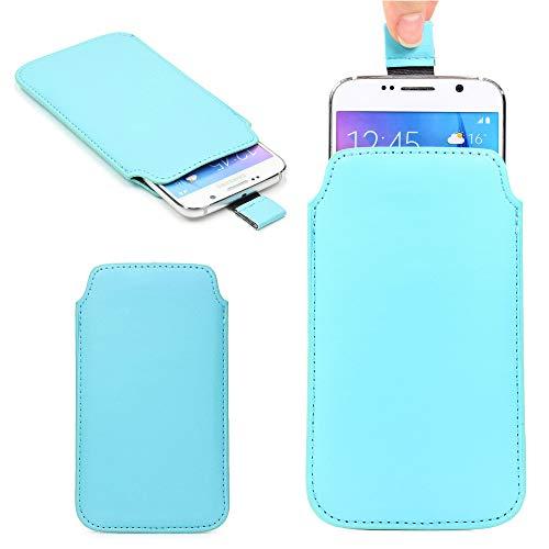 Urcover Universal Schutzhülle kompatibel mit 5,5 Zoll Handys Hülle Schale Pull Tab Etui Cover Hülle Hell Blau
