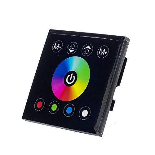 OSIDEN 12V CC 24V 4A * 4 canales Negro Panel de pantalla táctil digital de interruptor RGBW controlador Dimmer pared del hogar Luz for RGBW LED tira de cinta