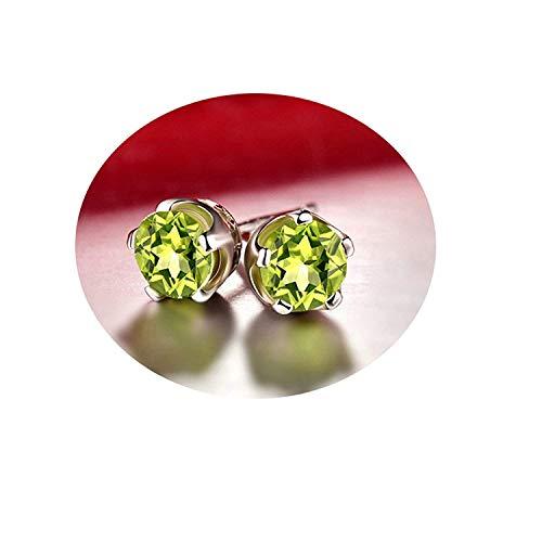 JY Novedad Joyería - Pendientes de peridoto redondos de plata esterlina .925 para mujer Pendientes de botón/Green