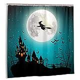 YOYICU Halloween Duschvorhang Geist Hexe Kürbis Blutig Wasserdicht Badezimmer Gardinen mit Haken für Halloween Dekoration 72 x 72 Zoll