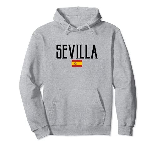 Sevilla España Bandera Clásico Texto Negro Sudadera...