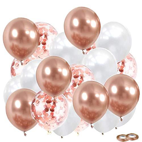 """JWTOYZ 52 Stück 12"""" Luftballons Metallic Rosegold Weiß Konfetti Balloons Set für Hochzeit Geburtstag Valentinstag Silvester Deko Babyparty"""