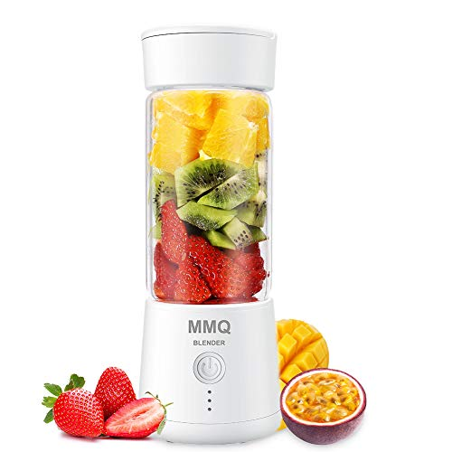 Portable Blender, MMQ Personal Size Juicer Cup, Fruit Shake, Smoothies Mixer with 2000mAh USB Rechargeable Battery, 3D Six Blades, 410ML, White