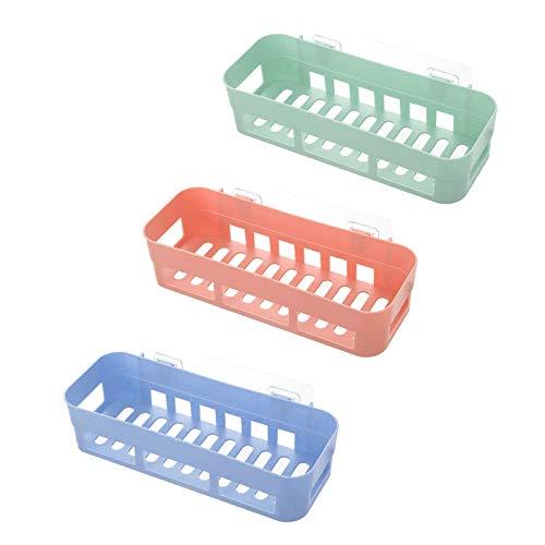 3 Pcs Estanterias Ducha, Estanteria Baño, Estanteria Baño Autoadhesivo, Estanteria Baño Sin Taladro para Champú(Azul Claro, Verde Claro, Rosa Claro)