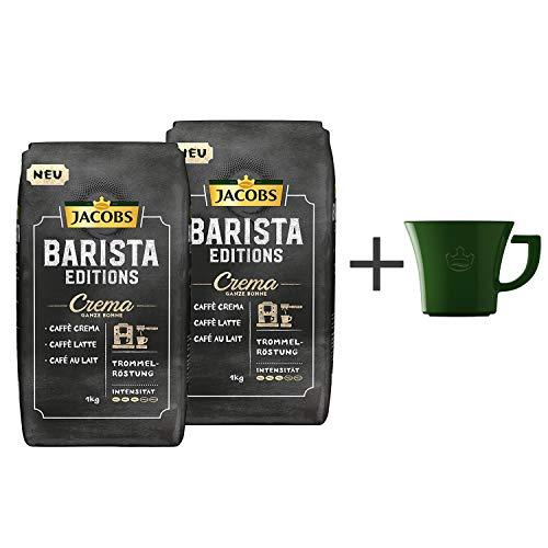 Jacobs Kaffeebohnen Barista Editions Crema Pack, 2er Pack (2x 1kg Bohnenkaffee), Gratis geschenk: Jacobs kaffeebecher