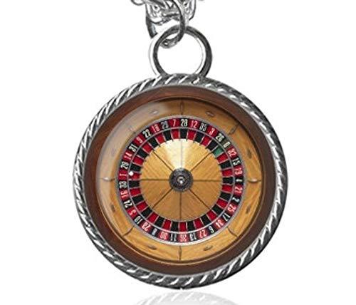 Casino-Halskette, Roulette-Rad, Gambler-Bild Anhänger, kuppelförmiger Glasschmuck, ein Geschenk für sie