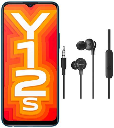 Vivo Y12s Phantom Black (3GB + 32GB) + vivo Color Wired Earphones with Mic and 3.5mm Jack (Black)
