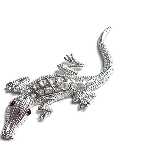 VIONNPPT 3D Metall Krokodil Eidechse Hochglanz Aufkleber, Selbstklebende Metall Relief-Sticker Decal für Auto, KFZ, Motorrad, Notebook, Haustür, Kühlschran (Silber)