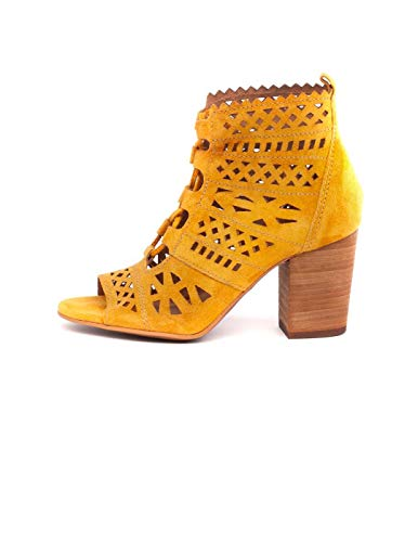 Botín amarillo de verano para mujer con tacón alto