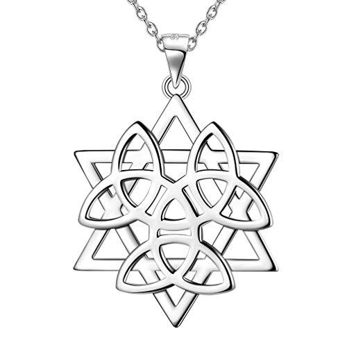 Besilver Celtic Knot Star of David Pendant Necklace Men Women 925 Sterling Silver Magen David Star Celtic Knot Necklace Judaica Jewelry Jewish Gifts FP0135W