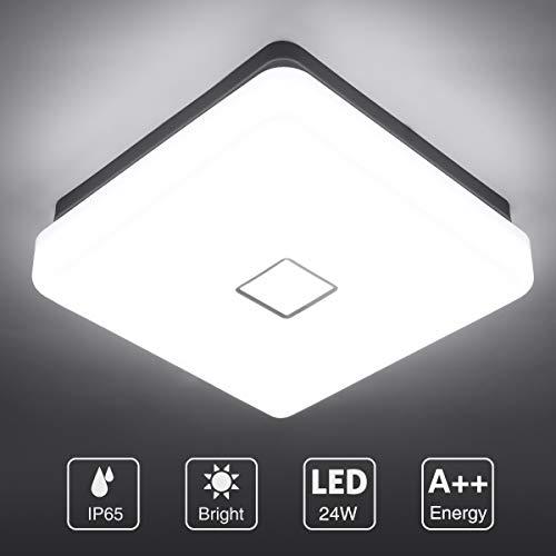 Onforu 24W LED Lámpara de Techo Cocina, CRI 90+ IP65 Impermeable 2100LM LED Plafón Cuadrado para Salón Dormitorio Baño Aseo Habitación Terraza Comedor, Igual al 220W, 5000K Blanco Frío Moderna