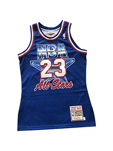 Mitchell & Ness Men's Michael Jordan Hardwood Classics Throwback All-Star Jerseys Swingman Jersey (Small - 36, Blue 1993)