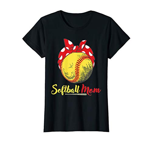 Womens US Flag Softball Player Mom T-Shirt Mother's Day Gift Shirt