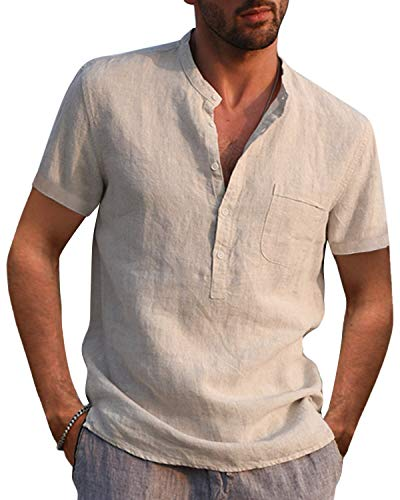AUDATE Camisa de algodón de lino para hombre, para otoño e invierno, de manga larga, corte regular, para tiempo libre 01-caqui M