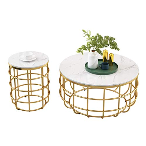 Set of 2 Round Coffee Tables for Living Room Bedroom Balcony Family and Office, Metal and Marble, Large 6040cm, Small 4048cm