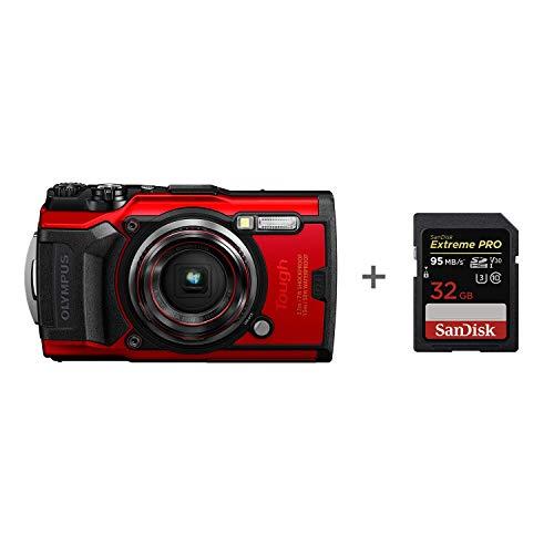 Olympus Tg-6 Tough camera, met 32 GB geheugenkaart, rood