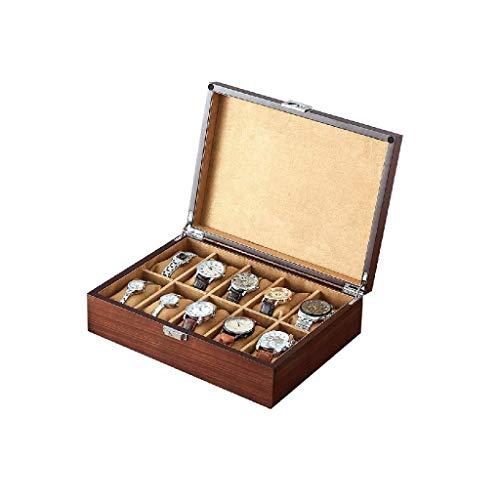 YUTRD ZCJUX Box-joyería de Madera Caja de Reloj de visualización de Almacenamiento Caja de Pecho con Solid Superior Tiene Relojes con Suaves Almohadas