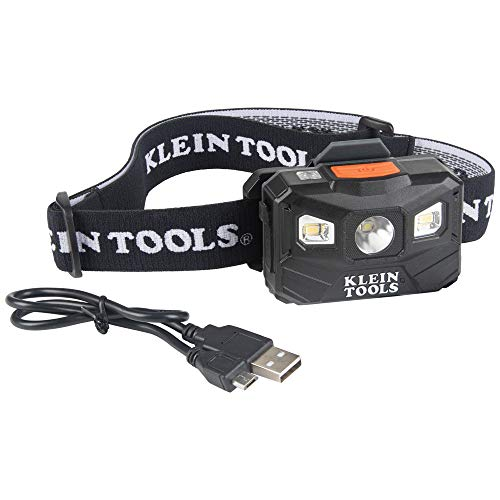Klein Tools 56048 Rechargeable Auto-Off LED Headlamp, Adjustable Fabric Strap, 400 lms, All-Day Runtime, for Work, Running, Outdoor Hiking