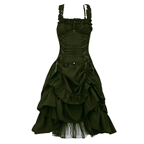 Women's Steampunk Gothic Black Lace up Dresses Vintage Sleeveless Ruffled Victorian Cosplay Skirts S-5XL