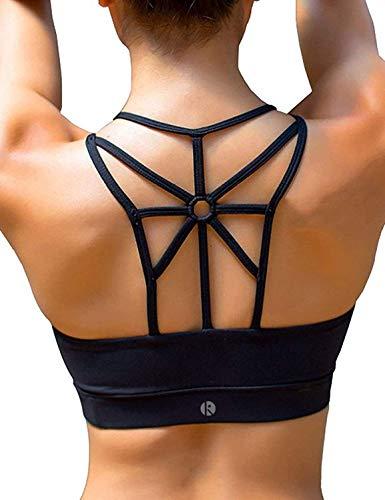 coastal rose Sports Bra for Women Cross Back Medium Support Padded Workout Running Yoga Bra L Black