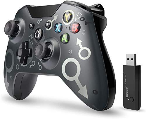 xuelili Controles sem fio para Xbox One, joystick de PC sem fio com adaptador sem fio de 2,4 GHz, compatível com Xbox One / One S / One X / P3 Host / Windows 7/8/10,Preto