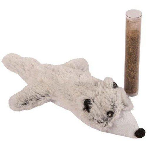 Kerbl Katzenspielzeug Hermelin mit Cat Nip in der Tube, 17 cm