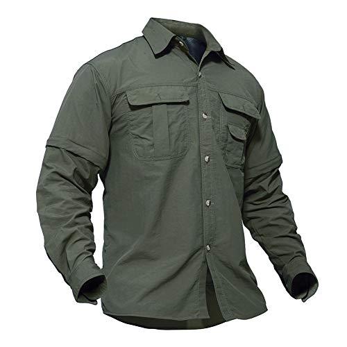 TACVASEN Camicia da Esterno Camicia asciutta Rapida Camicia da Trekking Oudoor con Cerniera t Shirt Verde