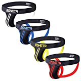 BSHETR Men's Underwear Jockstrap Athletic Supporters, 4-Pack Cotton Low Rise Stretch Multipack Performance Jock Strap...