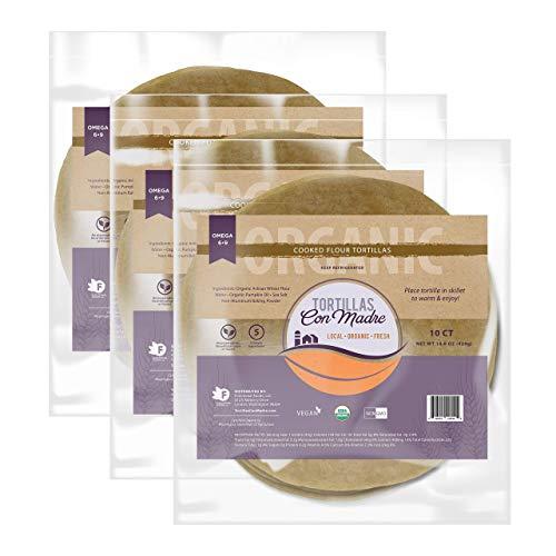Tortillas Con Madre - PUMPKIN TORTILLAS (3 Pack, 8 Inch, 30 Tortillas), Fresh Organic Wheat Flour Tortillas, Vegan Tortilla Enhanced With Pumpkin Oil