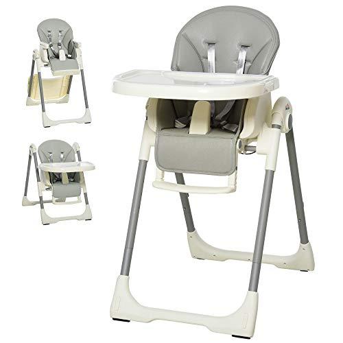 HOMCOM Trona para Bebé Evolutiva Ajustable y Plegable con Doble Bandeja Trona Portátil de +6 Meses Reclinable con 2 Ruedas y Frenos 55x80x104 cm Gris