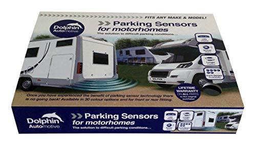 Sensores de aparcamiento en reversa MPS400 de Dolphin, para autocaravana, casa rodante,camioneta, RV, con audio zumbador en colores negro, plata, blanco, gris