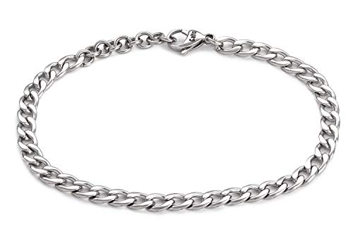 Handmade Stainless Steel Plated Chain Anklet For Men By Galis Jewelry - Ankle Bracelet For Men - Silver Anklet For Men