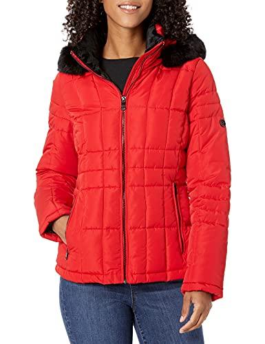 Calvin Klein - Chaqueta acolchada para mujer con capucha extraíble de piel sintética, XS