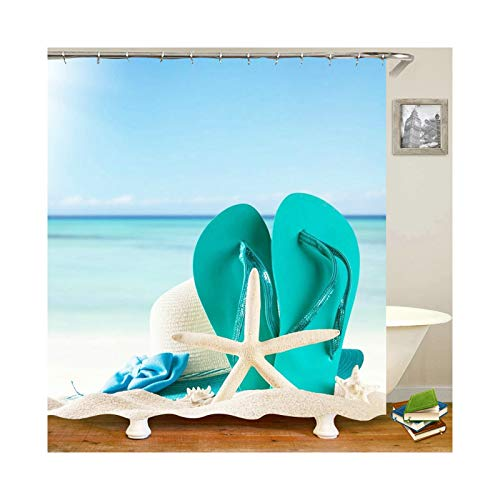 Daesar Polyester-Stoff Duschvorhang Antischimmel Seestern Hausschuhe Hut am Strand Lustiger 3D Duschvorhang cm