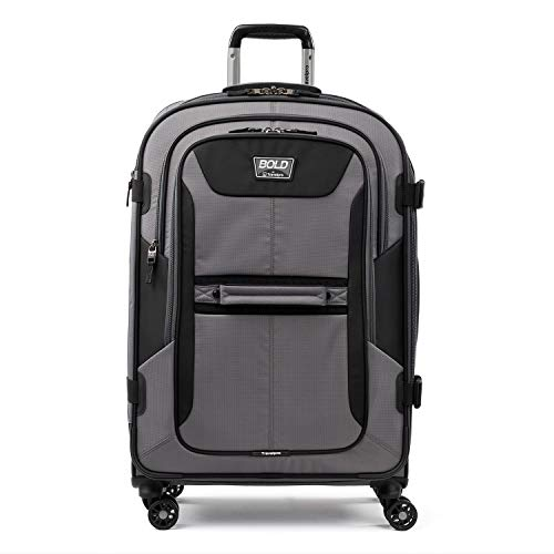 Travelpro Bold-Softside Expandable Luggage with Spinner Wheels, Grey/Black, Checked-Medium 26-Inch